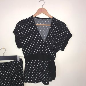 Polka Dot Matching Skirt Set